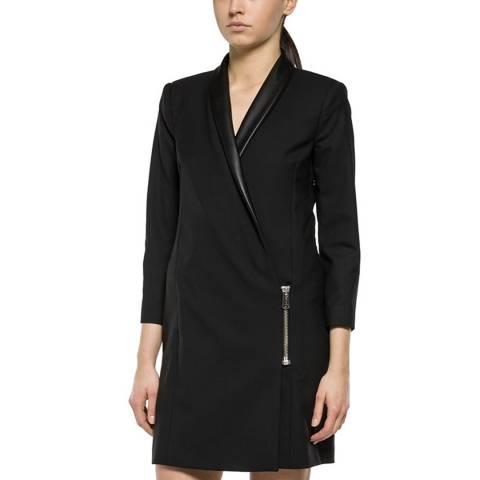 Replay Black Wool Blend Short Dress
