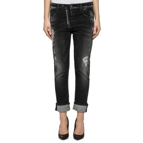 Replay Black Mid Rise Gracelly Boyfriend Stretch Jeans