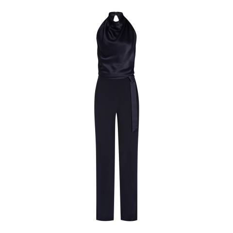 Reiss Navy Corina Halter Neck Jumpsuit