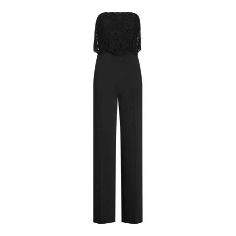 Reiss Black Natalie Lace Layer Jumpsuit