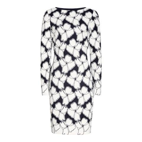 Reiss Black/White Pattern Bodycon Lottie Formal Dress