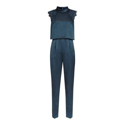 Reiss Blue Satin Winnie Jumpsuit