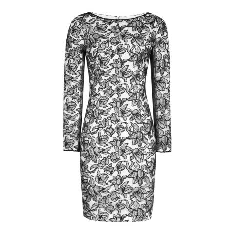Reiss Black/Off White Celia Lace Bodycon Dress