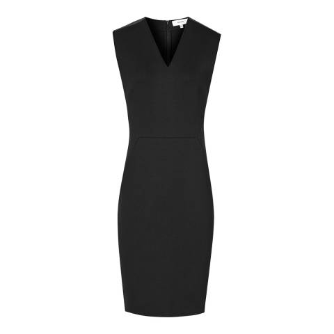 Reiss Black Tilly Neoprene Fitted Dress