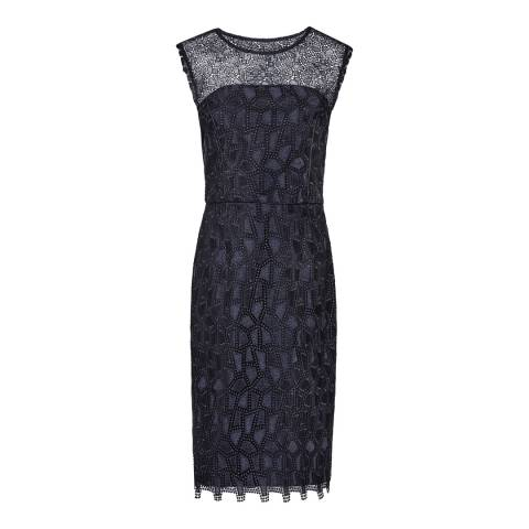 Reiss Night Navy Kirsty Mixed Lace Dress