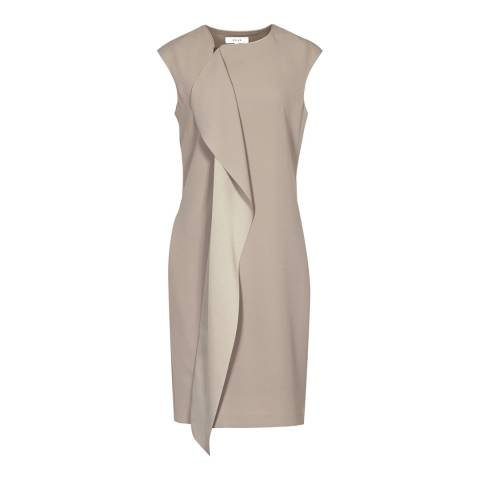 Reiss Sherwood Beige Cora Shift Dress