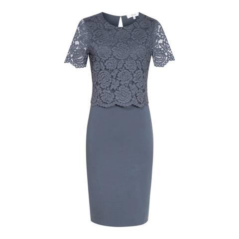 Reiss Slate Darby Lace/Neoprene Dress