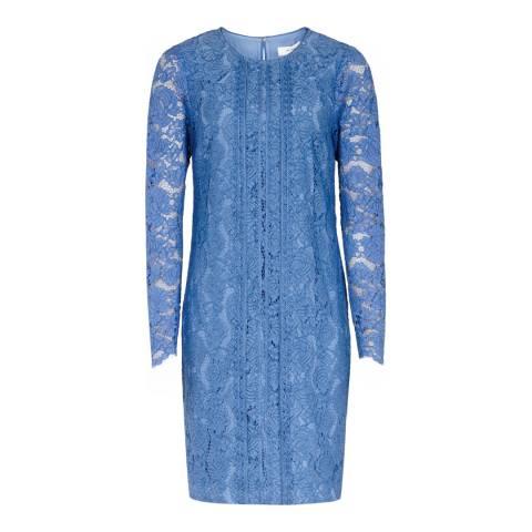 Reiss Azure Blue Suki Lace Shift Cotton Blend Dress