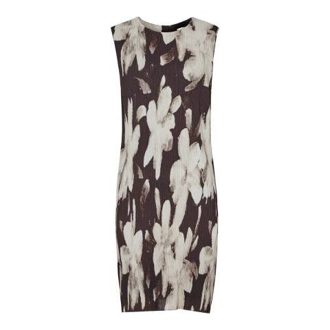 Reiss Black/Gold Devan Printed Dress