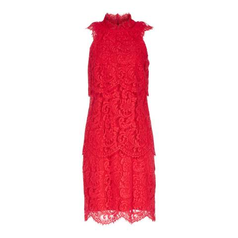 Reiss Red Sophia Lace Overlay Dress