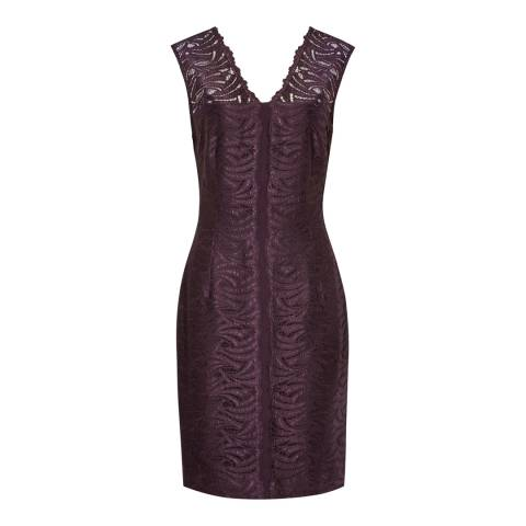 Reiss Deep Purple Otto Bodycon Lace Dress