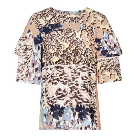 Reiss Multi Printed Fife Short Sleeve Top