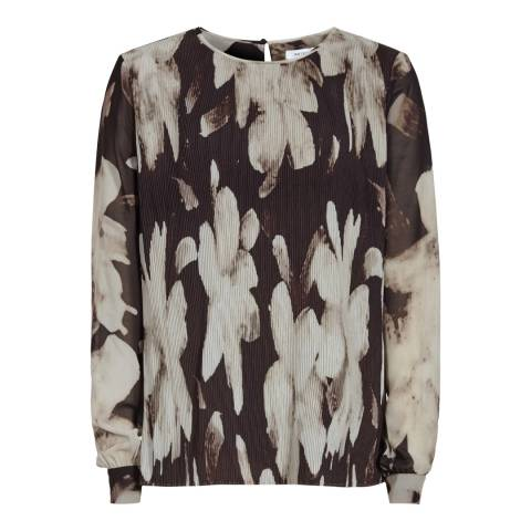 Reiss Black/Gold Shay Printed Plisse Blouse