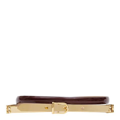 Reiss Bordeaux Leather Jasper Patent Metal Buckle Belt