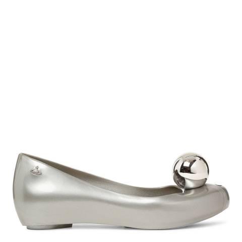 Vivienne Westwood for Melissa Silver Globe Ultragirl Peep Toe Flats
