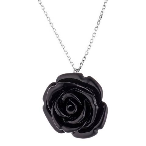 Wish List Silver/Black Rose Pendant Necklace