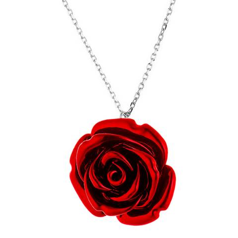 Wish List Silver/Red Rose Pendant Necklace