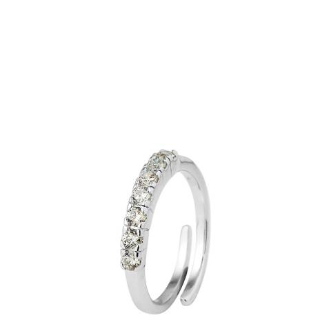 Wish List Silver/White Adjustable Zirconium Half Wedding Ring
