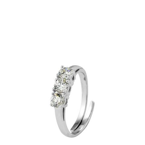Wish List Silver/White Adjustable  Zirconium Trilogy Ring