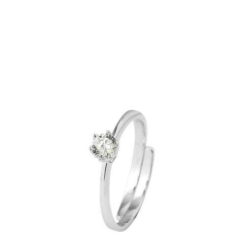 Wish List Silver Adjustable Zirconium Solitaire Ring