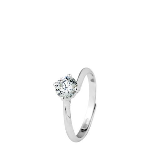 Wish List Silver Adjustable Solitaire Zirconium Ring