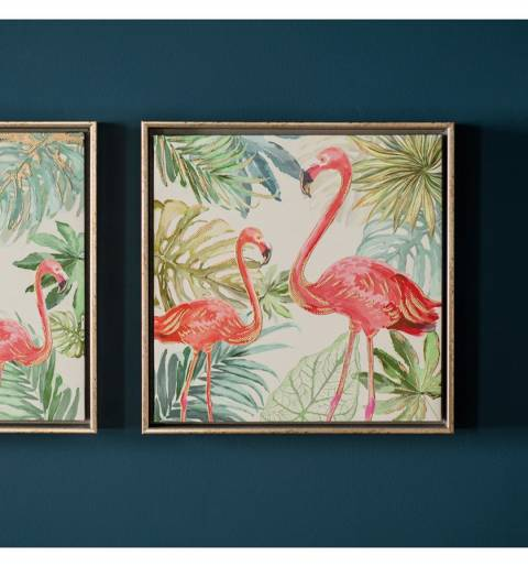 Gallery Pink/Green Flamingo II Framed Art 32.5x32.5cm