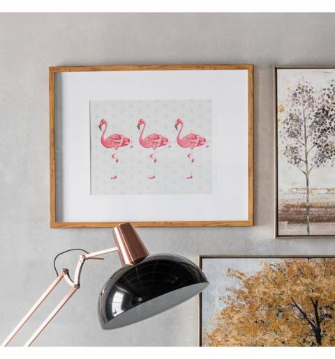 Gallery Pink/White Flamingos Crossing Framed Art 74x59cm