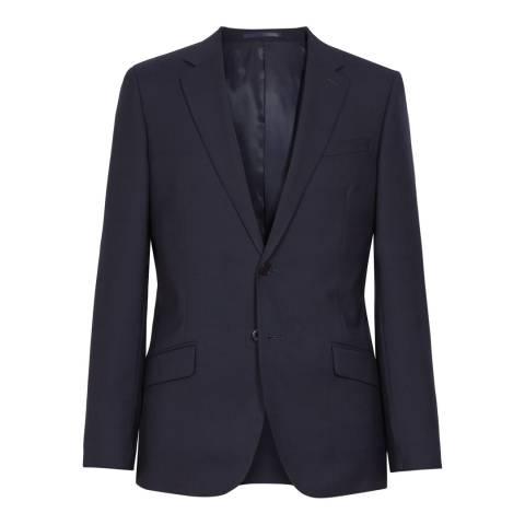 Reiss Navy Wool Blend Slim Fit Textured Suit Jacket