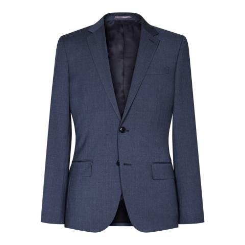 Reiss Blue Wool Blend Slim Fit Tailored Suit Jacket