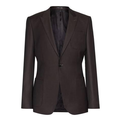 Reiss Brown Brickell Slim Fit Wool Suit Jacket