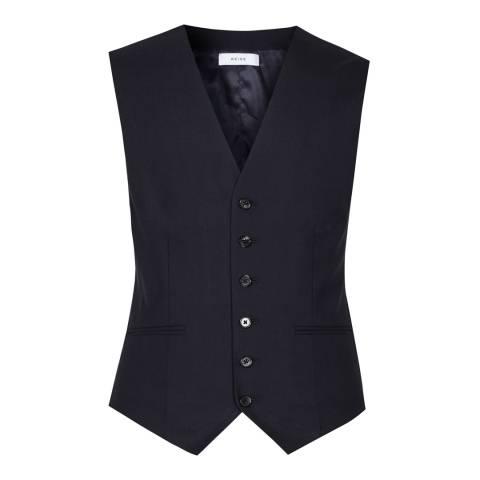 Reiss Navy Matsuda Slim Fit Wool Waistcoat