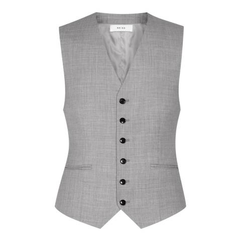 Reiss Grey Woollen Modern Fit Waistcoat