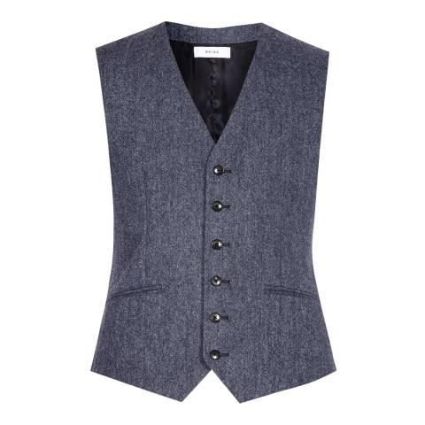 Reiss Blue Mottled Woollen Modern Fit Waistcoat