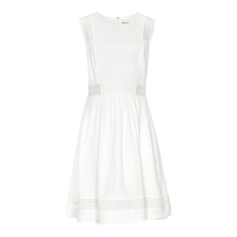Reiss White Britt Embroidered Insert Dress