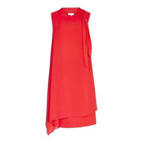 Reiss Cherry Red Aries Tie Neck Midi Dress