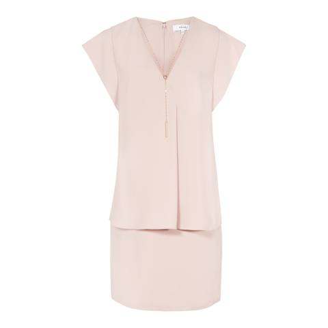 Reiss Ice Pink Tarquin Double Layer Chain Neck Dress