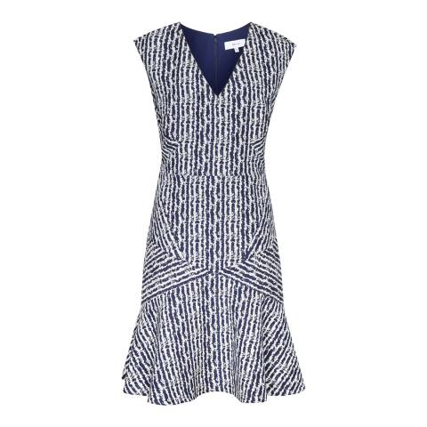Reiss Night Navy/White Gilles Dress