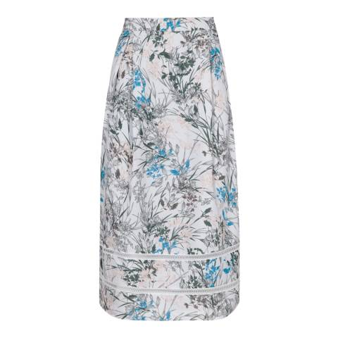 Reiss Blue Rennie Printed Silk Skirt