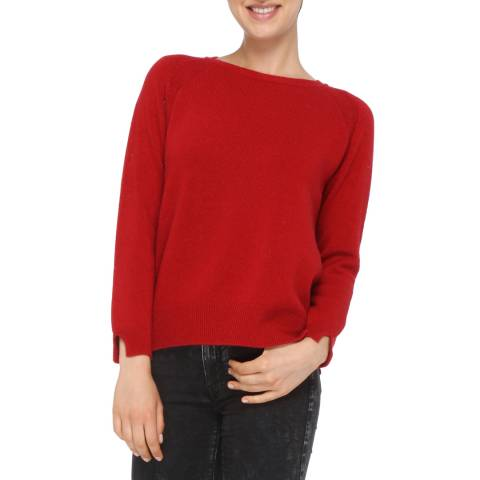 Love Cashmere Red Cashmere Blend Crew Neck Jumper
