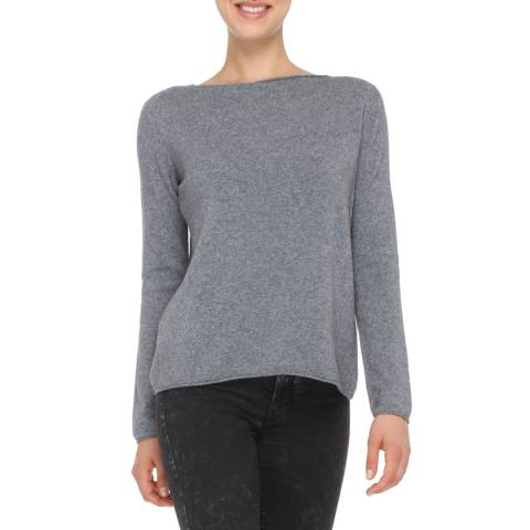 Love Cashmere Grey Cashmere Blend Long Sleeve Jumper