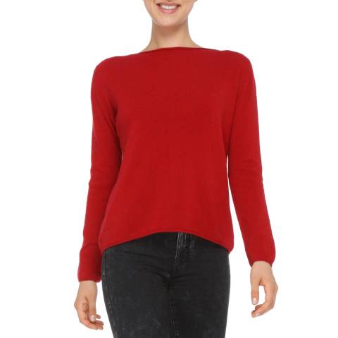 Love Cashmere Red Cashmere Blend Long Sleeve Jumper