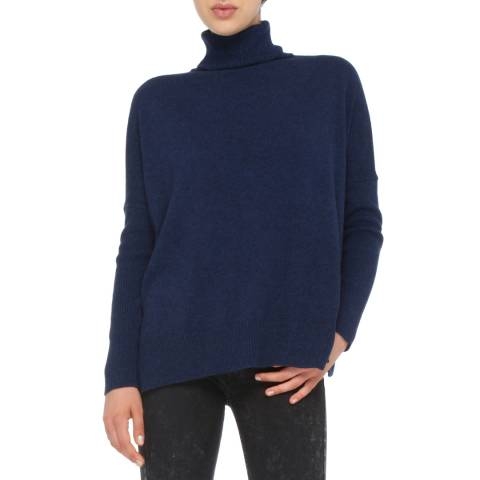 Love Cashmere Navy Blue Cashmere Blend Turtleneck Jumper