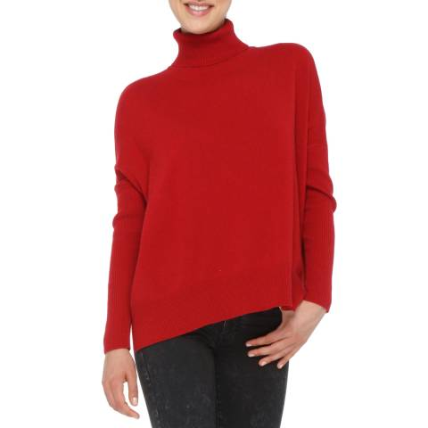 Love Cashmere Red Cashmere Blend Turtleneck Jumper