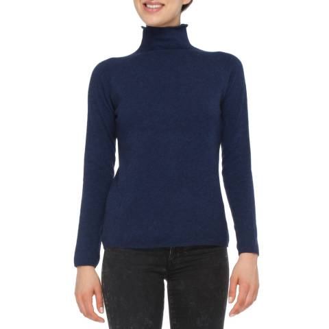 Love Cashmere Navy Blue Cashmere Blend Raglan Sleeve Jumper