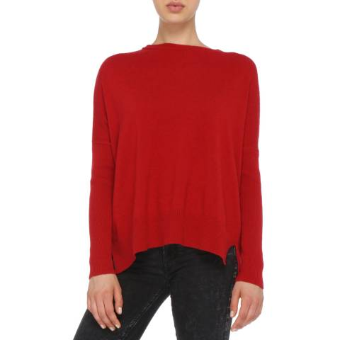 Love Cashmere Red Crew Neck Cashmere Blend Jumper