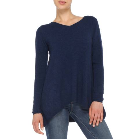 Love Cashmere Navy Blue V Neck Oversized Cashmere Blend Jumper