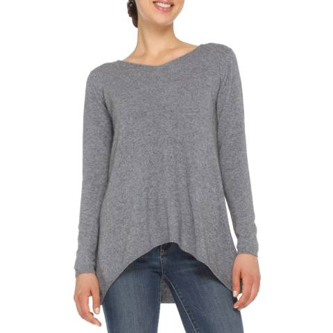 Love Cashmere Grey V Neck Cashmere Blend Jumper