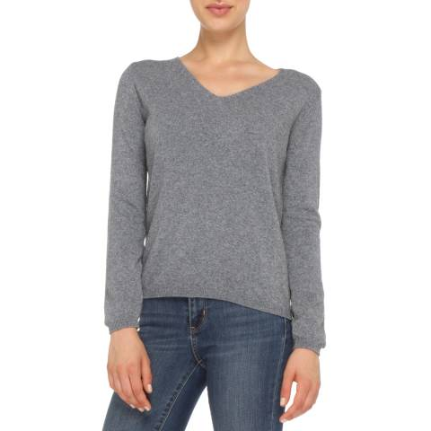 Love Cashmere Grey Cashmere Blend V Neck Jumper