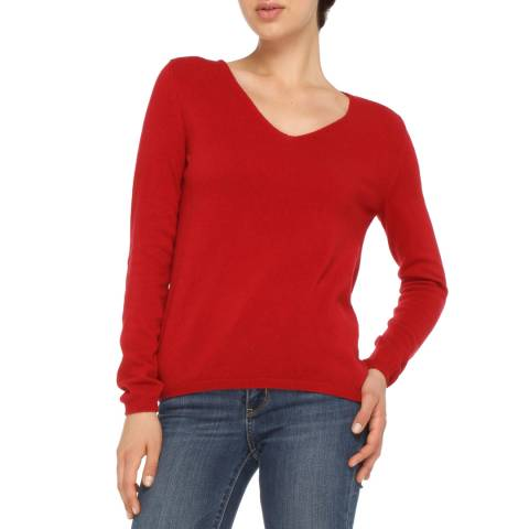 Love Cashmere Red Cashmere Blend V Neck Jumper