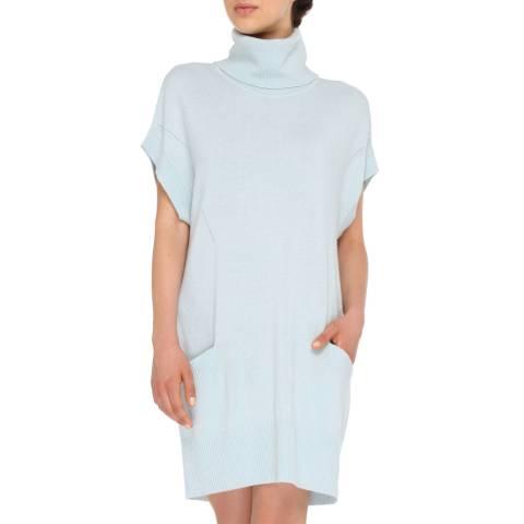 Love Cashmere Light Blue Cashmere Blend Turtleneck Dress